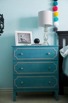 Mallory's Room: IKEA Tarva hack using O'verlays. Turquoise blue 3 drawer chest. Girl's pre-tween teen bedroom.