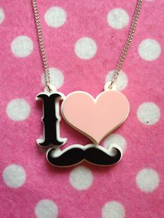 I Love Moustaches Acrylic Necklace by robbiesgirlshop on Etsy, $12.50