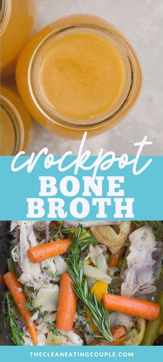 This Easy Crockpot Bone Broth recipe is made from the scraps of a whole chicken, some veggies & spices in the slow cooker! You can make it with any bones you have - turkey, beef or chicken are all delicious. Paleo, & budget friendly- this easy reci Easy Whole 30 Recipes, Easy Clean Eating Recipes, Healthy Crockpot Recipes, Lunch Recipes, Slow Cooker Recipes, Healthy Dinner Recipes, Soup Recipes, Whole30 Recipes, Healthy Soup