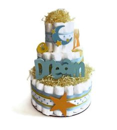 Items similar to Dream Moon & Stars Diaper Cake - Three Tier Baby Shower Gift or Centerpiece girl boy neutral on Etsy Baby Shower Diapers, Baby Shower Cakes, Baby Shower Themes, Baby Boy Shower, Baby Shower Gifts, Baby Gifts, Shower Ideas, Diaper Cake Boy, Nappy Cakes