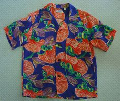 3abe92ed6 Sun Surf reproduction of 1940s vintage Hawaiian Aloha shirt. Small. Blue w/  red, green. Bon Bax Tree. Toyo. Made in Japan. 100% smooth rayon