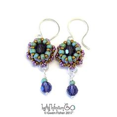 Mini Crown Beaded Earrings Sterling Silver Wire Purple Bronze