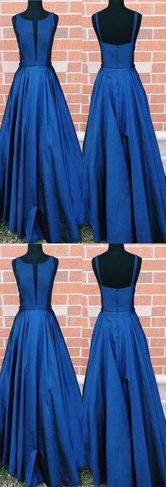 Navy Blue Long Satin Scoop Neck Prom Dress Floor Length Evening Gowns