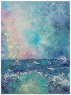 'There's a rainbow above you' - vibrant texture acrylic on canvas 30cm x 40cm. seascape rainbow. Currently on exhibition in Schoolhouse Gallery, Dornie, Scotland