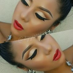 Neutral shadows, red lips and contour.
