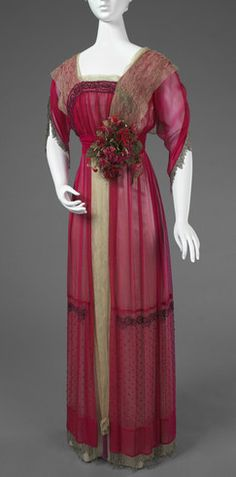 In 1905-6, B. Altman & Co., one of New York's great retail establishments, moved from the Ladies' Mile at Sixth Avenue and 19th Street to its newly erected store on Fifth Avenue, where it covered an entire city block. The women's department sold both ready-to-wear apparel and special orders such as this dinner dress.