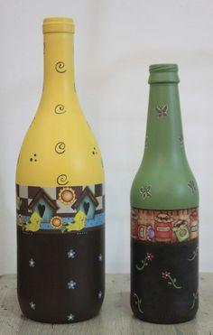 Graciosas garrafas de vidro pintadas e decoradas.