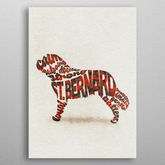 Bernard Dog Typographic by Deniz A. St Bernard Dogs, Poster Prints, Posters, Spiral Notebooks, Portable Battery, T Shirts For Women, Baby Onesie, Bath Towels, Metal
