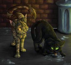 Stuck on Ice Hollyleaf and Brambleclaw by Finchwing.deviantart.com on @deviantART