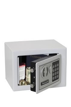Small Steel Security Safe - 0.17 Cubic Feet - White