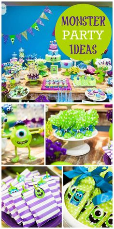 A green and purple Monster boy birthday party with fun favors and decorations! See more party planning ideas at CatchMyParty.com!