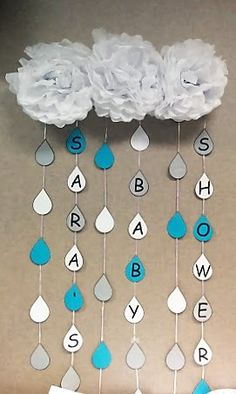 Rain drop Banner from my co-workers' baby shower
