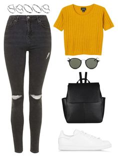 """Untitled #1385"" by susannem ❤ liked on Polyvore featuring Topshop, Monki, adidas Originals, John Lewis, Ray-Ban and ASOS"