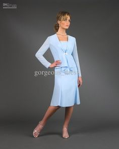 Hot Sale Strapless Sheath Sky Blue Mother Of The Bride Dress With Jacket Knee Length Sexy Formal Evening Dress For Women Chiffon Mother Of The Bride Dresses On Sale Mother Of The Bride Dresses Petite Sizes From Gorgeous_dress, $82.7| Dhgate.Com