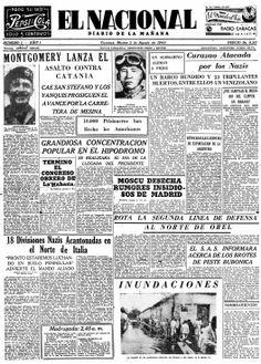 """Primera edición de El Nacional, publicado el 03 de agosto de 1943 """"Montgomery lanza el asalto contra Catania"""""""