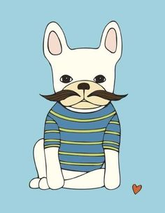 french bulldog with mustache art print // blue & green stripe