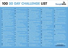 After the success of some of my other 30 day challenge ideas posts, I thought I'd design something you can print out and keep. Here's my ultimate 30 day challenge. Try something new every day for a month or repeat something consistently for 30 days — the 30 Day Challenge List, Monthly Challenge, Workout Challenge, Thigh Challenge, Plank Challenge, Month Workout, Health Challenge, 30 Tag, Sport Fitness