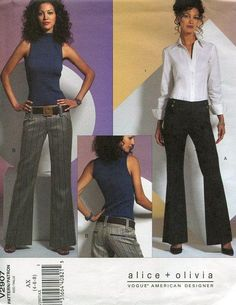 FREE US SHIP Vogue 2907 Alice + Olivia Low Rise Wide Leg Pants 2006 New Sewing Pattern Size 4 6 8,10 12 14,16 18 20 Old Store Stock by LanetzLivingPatterns on Etsy
