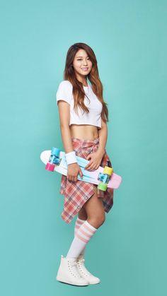 Seolhyun skateboarding in a hot as hell HALF SHIRT for some photoshoot - Asian Junkie Korean Women, South Korean Girls, Korean Beauty, Asian Beauty, Geisha, Kim Seolhyun, Pretty Asian, Poses, Clothes