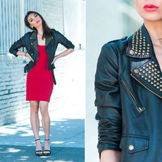 Mango Knit Bodycon Dress, Romeo + Juliet Couture Studded Leather Jacket, Michael Kors Studded Sandals