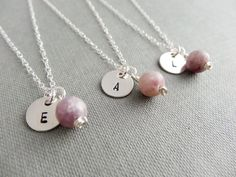 Personalised initial necklace in sterling silver with lilac Quartz. These would be perfect bridesmaid gifts