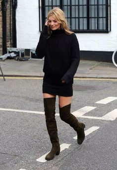 Kate Moss: black sweater and mini skirt with thigh high leather boots