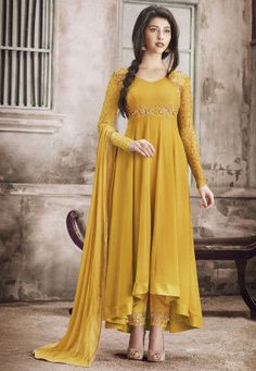 Embroidered Georgette Asymmetric Pakistani Suit in Mustard
