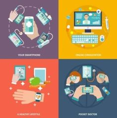 Buy Digital Health Icons Set Flat by macrovector on GraphicRiver. Digital health your smartphone online consultation healthy lifestyle pocket doctor icons flat set isolated vector ill. Health Icon, Health And Wellness, Health Care, Smartphone, What Is Digital, Material Design Background, Fitness Gadgets, Wearable Technology, Photography Branding