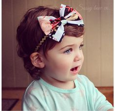 """Sweet cotton bows are available in small 3"""" bows and large 4"""" bows! Find more adorable prints and patterns at sassybowco.com"""