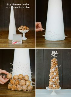 DIY Donut Tower. This would be great for a bridal shower or for a dessert table at a recepetion  #merrybrides