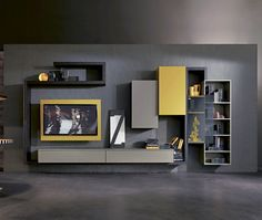 Contemporary TV wall unit / lacquered wood / elm SIDE 5 Fimar Srl