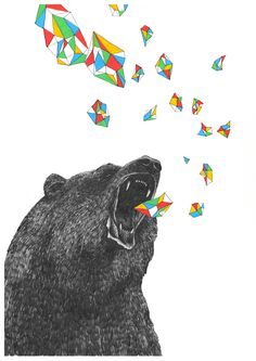 It's kinda like a panda bear vomiting rainbows...only it's a regular bear spewing chunks of color!