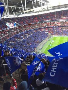 Blues supporters' end at the Wembley Stadium on 1 March 2015 for the Capital One Cup Final match of Chelsea vs Tottenham. Fc Chelsea, Chelsea Football, Chelsea Wallpapers, Chelsea Fc Wallpaper, Premier League, Chelsea Vs Tottenham, Chelsea Fc Players, Chelsea Champions, Tattoos