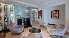 "Wine storage at actress Denise Richards' house in L.A.'s Hidden Hills area. (It's currently on the market for $7.749 million, and it also has its own ""dog hotel."")"