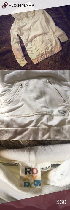 ROXY Hoodie!!💕 EXCELLENT CONDITION!  Beautiful cream color with not one stain, looks new!! Too big for my style but could fit as an oversized jacket! Roxy Jackets & Coats