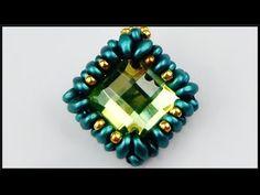 DIY | Perlen Strassstein Kettenanhänger | Beaded necklace rhinestone pendant | jewelry - YouTube