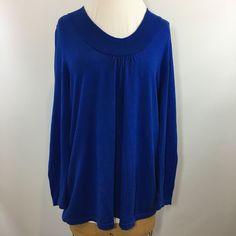 Lane Bryant Deep Scoop Blue Lightweight Sweater Women's Size 14 16 100% Cotton   | eBay