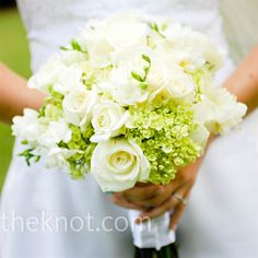green hydrangeas, white roses, and freesia, hand-tied with white ribbon