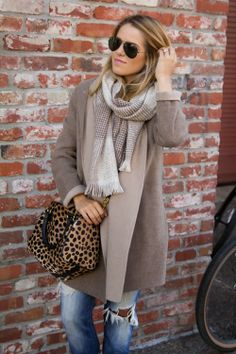 Casual Jeans With Stylish Long Coat With Scarf And Shades