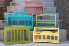 Turquoise - Yellow - Leaf Green - Mint Green - Orange - Wooden Magazine Racks - Home Decor - Books - Shabby chic - Boho - Farmhouse Chic. $36.00, via Etsy.