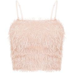Diala Pink Eyelash Fringe Crop Top ❤ liked on Polyvore featuring tops, cropped tops, pink crop top, cut-out crop tops and pink top