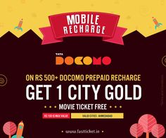 #Amadavadis here is an irresistable deal just for you #Ahmedabad…   #Recharge your Tata Docomo prepaid account with Rs 500/- or more and get 1 #movie #ticket of your @City Gold Cinemas with a maximum value of Rs 100/- for #FREE!  Checkout the #offer here: http://fastticket.in/other/special-offers?69