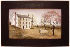 Billy Jacobs Framed Picture Old White Farm House with Sheep-Billy Jacobs Print,Billy Jacobs Picture,Billy Jacobs Antique Barn Framed Picture. Cottage Style Homes, Country Style Homes, Billy Jacobs Prints, Window Candles, Farm Paintings, Saltbox Houses, Primitive Crafts, Primitive Country, Country Crafts