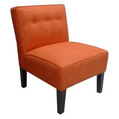 A fun solid color. Regan upholstered chair in Tangerine. $299.99 or on sale for 240 at Target.