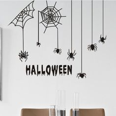 Halloween spiders home decoration fashion wall decals vintage poster vinyl wall art mural decorative window stickers(China (Mainland))