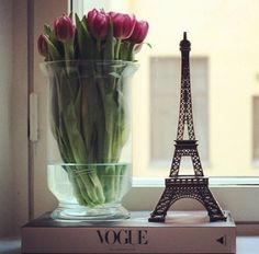 Tulips Paris and Vogue... Wouldn't it be nice to be in Paris on a patio overlooking the Eiffel Tower reading vague with tulips on the side...