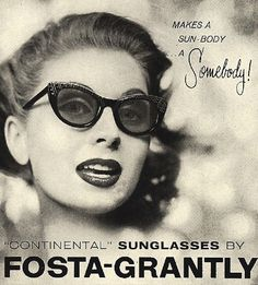 """In 1929, Sam Foster, founder of the Foster Grant company sold the first pair of Foster Grant sunglasses on the Boardwalk in Atlantic City, NJ. By 1930, sunglasses were all the rage."""""""