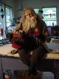 "Norma DeCamp Lg Seated 29"" Santa wth his bag of toys, Gorgeous Face very serious fellow., but look at that beard. decamp"