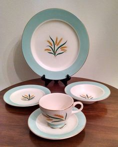 International D.S. & Co. Homer Laughlin Viking Dinnerware Set - Wheat, Turquoise, Gold- Four 5-Piece Settings - Plates, Bowls, Cups, Saucers by ClassyVintageGlass on Etsy