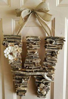 Initial Door Hanger, Rustic, Door Hanger, Monogram, Birthday, Home Decor, Bridal Shower, Wood Anniversary, Burlap, Photo Prop, Woodland by CreativelyCraftyFind on Etsy